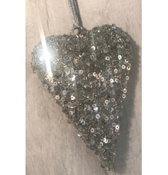 Bring a twinkle to your tree decor this Christmas time with this beautifully sparkling hanging heart decoration