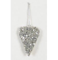 Add a glittering touch to your tree decor with this beautifully glamorous hanging sequin covered heart