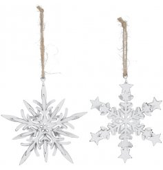 An assortment of 2 white Snowflake Hanging Decs