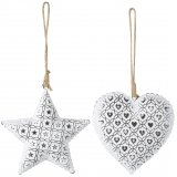 An assortment of 2 White Star/Heart Hanging Decorations