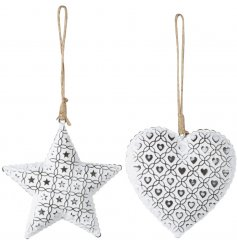 An assortment of 2 White Star/Heart Hanging Decs