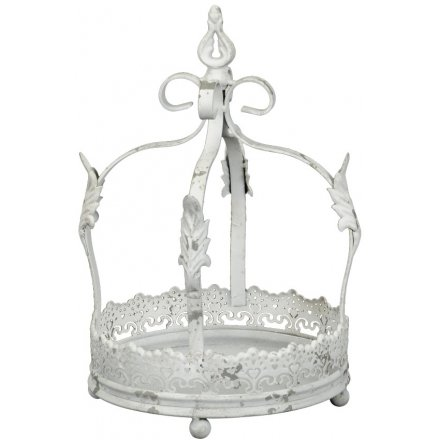 A chic and stylish metal crown decoration, covered in cut out metal decal for an added rustic edge