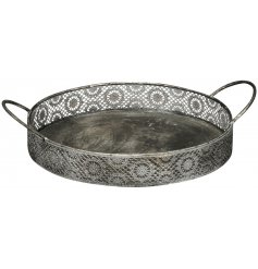 A chic and simple rounded metal tray set with a cut out decorative rim and easy hold handles