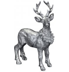 A Silver Resin Deer Ornament, 17.5cm