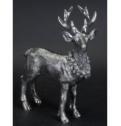 A Silver Resin Deer Ornament, 21cm