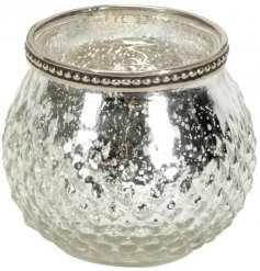 A Large Silver Textured Tealight Holder