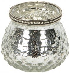 A Small Silver Textured Tealight Holder