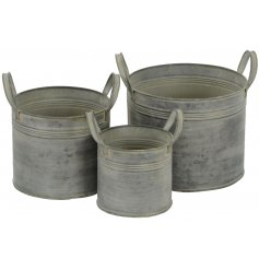 A set of 3 Round Metal Planters