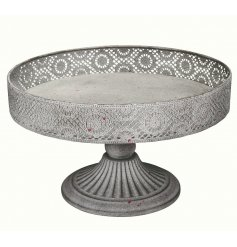 A Grey Metal Decorative Cake Stand