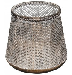 A charming chainmail inspired metal candle holder, set with an added distressed tone and tarnished bronzed effect