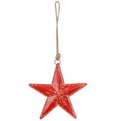 A sweet little hanging star decoration set in a festive red tone