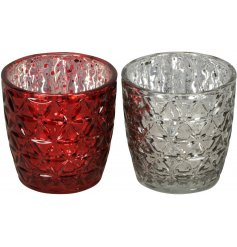 An assortment of 2 Silver/Red Small Glass Tlight Holder