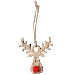 Perfectly finished with a red pompom nose, this little reindeer decoration also features a charming distressed finish