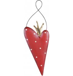 A charming little hanging heart decoration topped with a rustic golden crown