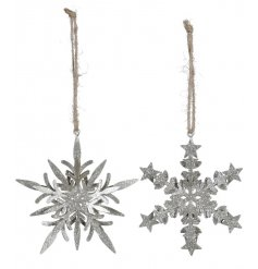 An assortment of 2 Silver Snowflake Hanging Decs