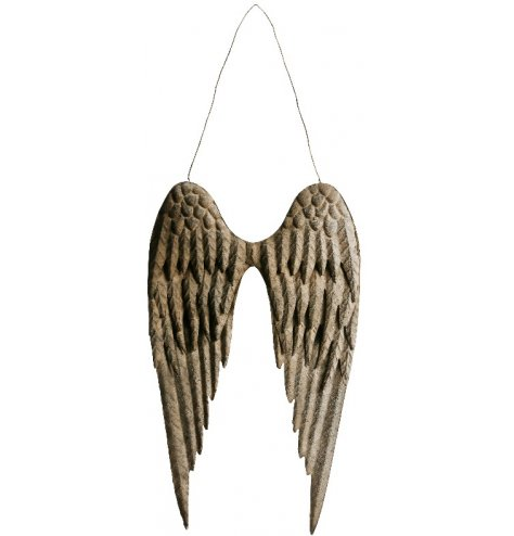 A pair of rustic metal angel wings with decorative layered angel wings and a thin wire hanger.