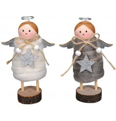 Bring a Winter Wonderland touch to your home decor or displays with this sweet assortment of wooden based angels