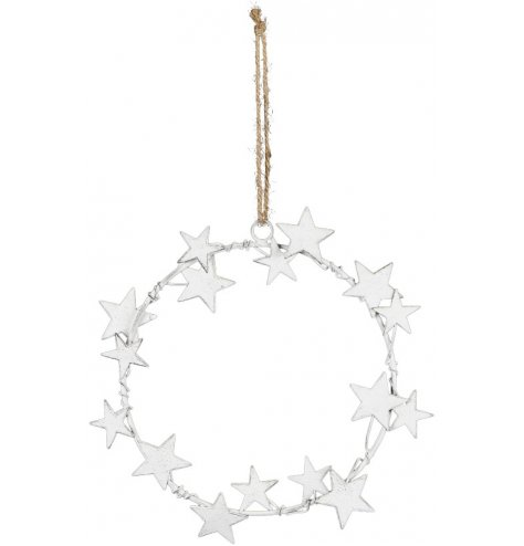 A shabby chic metal wreath hanger adorned with a cluster of stars in assorted sizes. Complete with a rustic jute hanger.