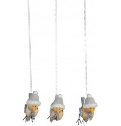 These three posed wooden bird decorations will be sure to hang perfectly in any themed decor at Christmas time