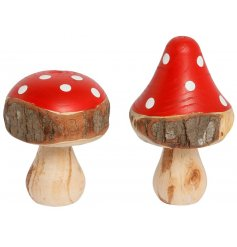 An assortment of 2 Red Wooden Toadstool Mushroom Decorations