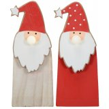 An assortment of 2 Wooden Santa Standing Decorations With LED Noses