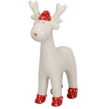 White Ceramic Reindeer, 11cm