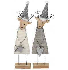 An assortment of 2 White/Grey Felt deer Decorations