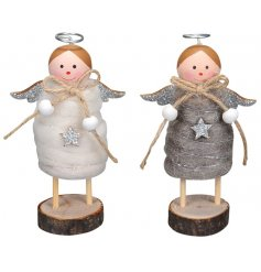 An assortment of 2 White/Grey Felt Angel Decorations
