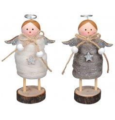 An assortment of 2 White/Grey Felt Angel Decs