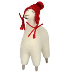 A Wooly Felt Llama With Hat