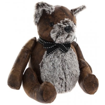 Sitting Cat Faux Leather Doorstop