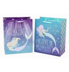 An assortment of 2 Purple & Blue large Mermaid Motto Gift Bags