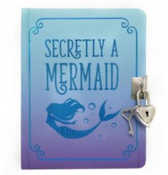 An A6 Sized Secretly A Mermaid Design Padlock Diary