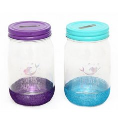 An assortment of 2 Mermaid Motto Money Jars