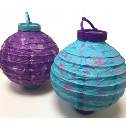 Purple and Turquoise Paper Lanterns