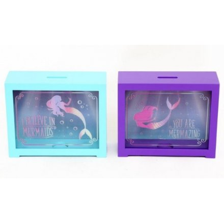 Mermaid Motto Money Boxes, 2 Assorted