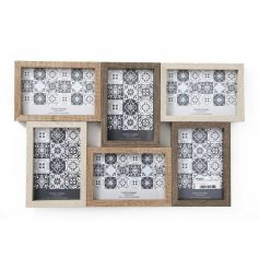 A Wooden Multi Frame With 6 Apertures