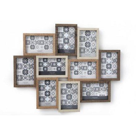 10 Aperture Wooden Multi Photo Frame