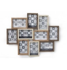A Wooden Multi Photo Frame With 10 Apertures