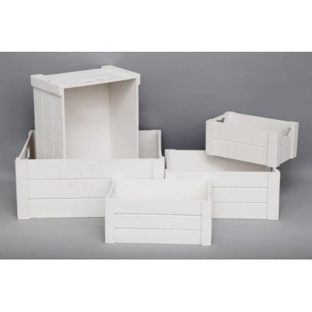 White Wooden Storage Crates, Set Of 5