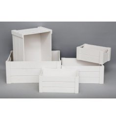 A Set Of 5 White Wooden Storage Crates