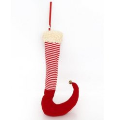 A fabulous nordic style elf leg decoration with a wooly trim, candy cane stripes and a gold bell to finish.