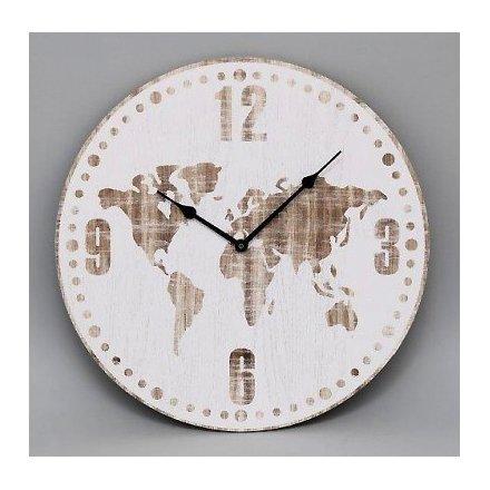 Cl2021 white wooden world print clock 30cm 40263 homeware a wooden clock with white washed world map print gumiabroncs Gallery