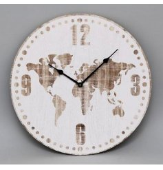 A wooden clock with white washed world map print