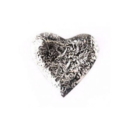 Embossed Silver Heart Dish