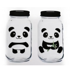 An assortment of 2 Bamboo/Panda Money Jars