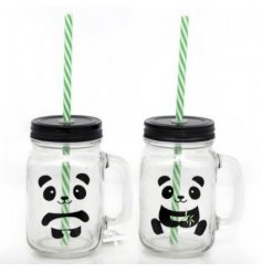 A fun assortment of 'Pandatastic' themed drinking jars, perfectly complete with green bamboo inspired plastic straws.