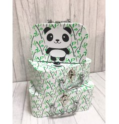 A set of 3 Panda Character Carry Cases
