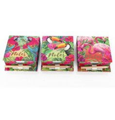 An assortment of 3 Tropical themed Memo Pad & Pencil Set