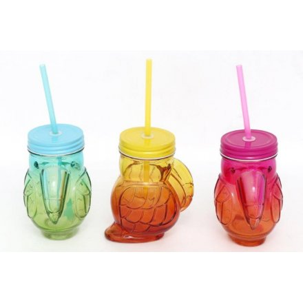 Toucan Drinking Jars, 3 assorted